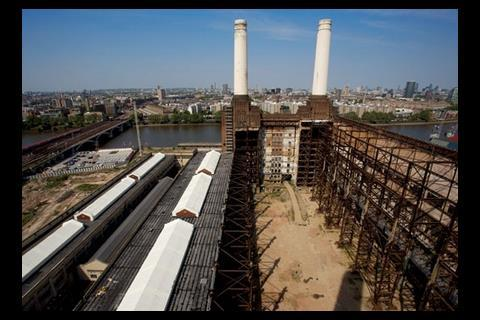 This vantage point at the base of one of the chimneys gives a view of the whole site